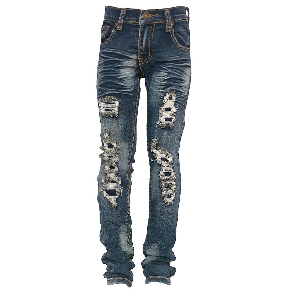Big Girls Blue Ruched Ripped Fraying Detail Bunched Hem Denim Pants 7-16 FOREVER 17 LAVO JEANS