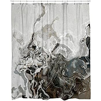 Decorative Contemporary Shower Curtain In Brown And Gray Geologica