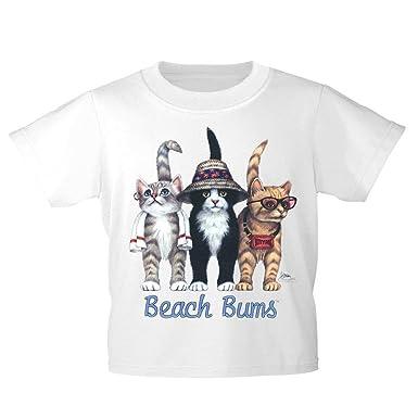Kids Camiseta con Impresión Cat Gatos Strandkatzen Playa Bums ...