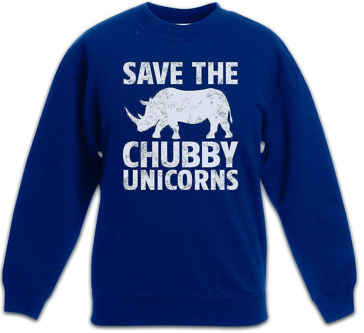 Save The Chubby Unicorns Kids Children Boys Girls Sweatshirt Pullover Nashorn Einhorn Rhino Rainbow Colors Regenbogen Fairy Fairies Elfen The Last Cartoon Rockabella Rockabilly Tattoo Fun