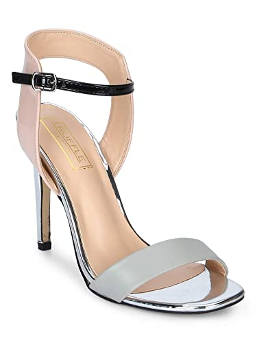 f181d0ca76 TRUFFLE COLLECTION Grey PU Black Ankle Strap Low Heel Stiletto: Buy ...