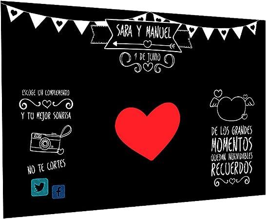 Photocall Pizarra Personalizado | Decoración de boda | Material Lona con Velcro para fácil colocación (250x170cm): Amazon.es: Hogar