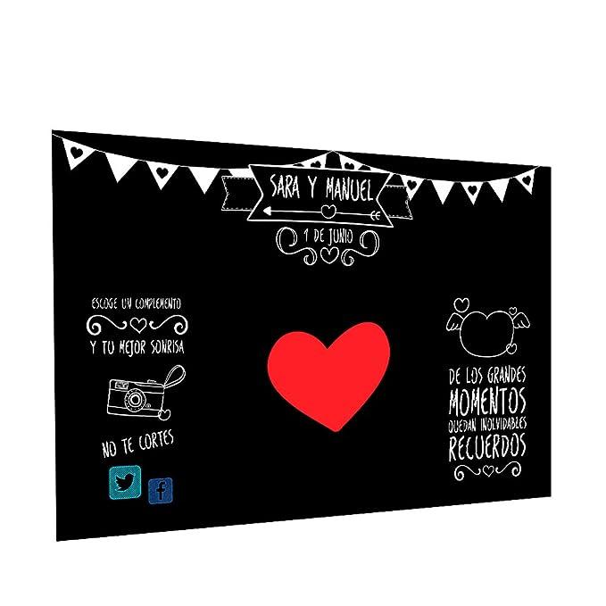 Photocall Pizarra Personalizado | Decoración de boda | Material Lona con Velcro para fácil colocación (250x170cm)