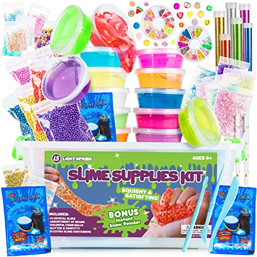 DIY Slime Supplies Kit for Girls Boys - Jumbo Clear Slime Making Kit with Crystal Slime, Foam Balls, Crunchy Fishbowl Beads, Instant Snow, Glitter, Stars, Fruit Slices, Containers - Kids Slime Kits