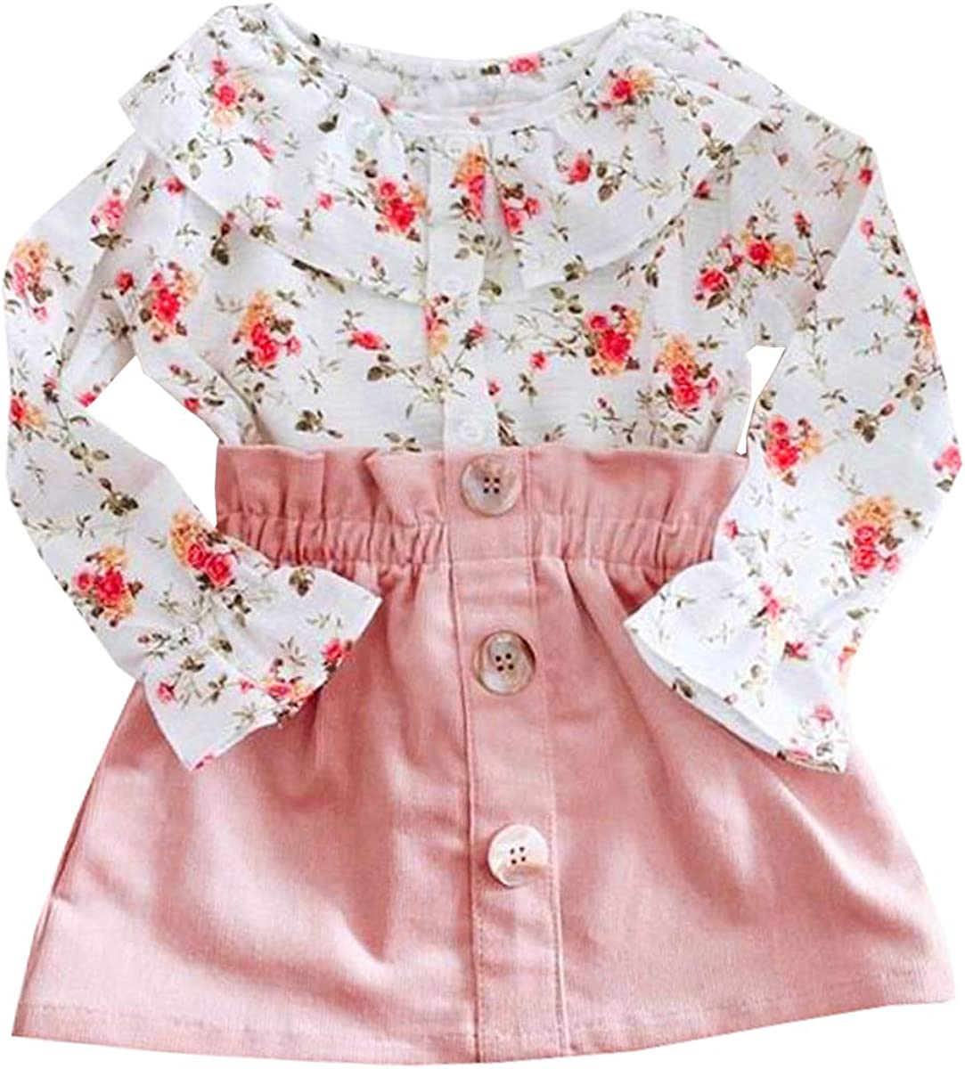 US Toddler Kids Baby Girls Clothes Lace Ruffle T Shirt Tops Strap Skirt Outfits