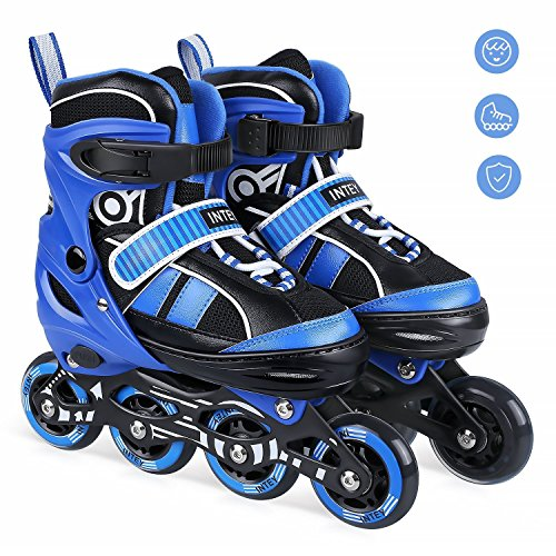 INTEY Inline Skates - Adjustable Size Fitness Inline Roller Skate for Girls and Boys with Light Up Wheels (L) ()