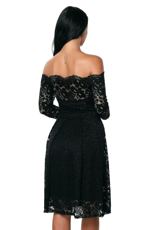 Touchie Damen Elegant Spitzenkleid Langarm Schulterfreies Kleid ...