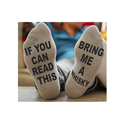 CQSM IF You Can Read This PLEASE Bring Me Whisky Remote Novelty Funky Funny Crew Socks Unisex Men Women Christmas Gifts