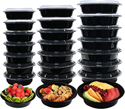 20x Stackable Meal Prep Food Containers With Lid Microwave Dishwasher Safe