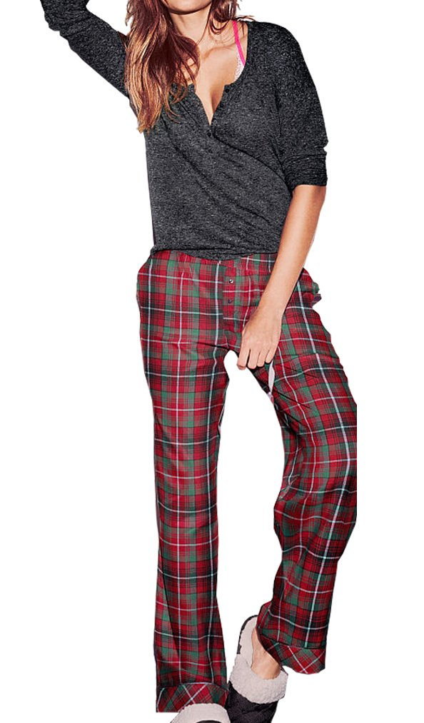 Victoria's Secret , Women's The Dreamer Henley Red Green Gray Pajama 2 Piece PJ Set Small