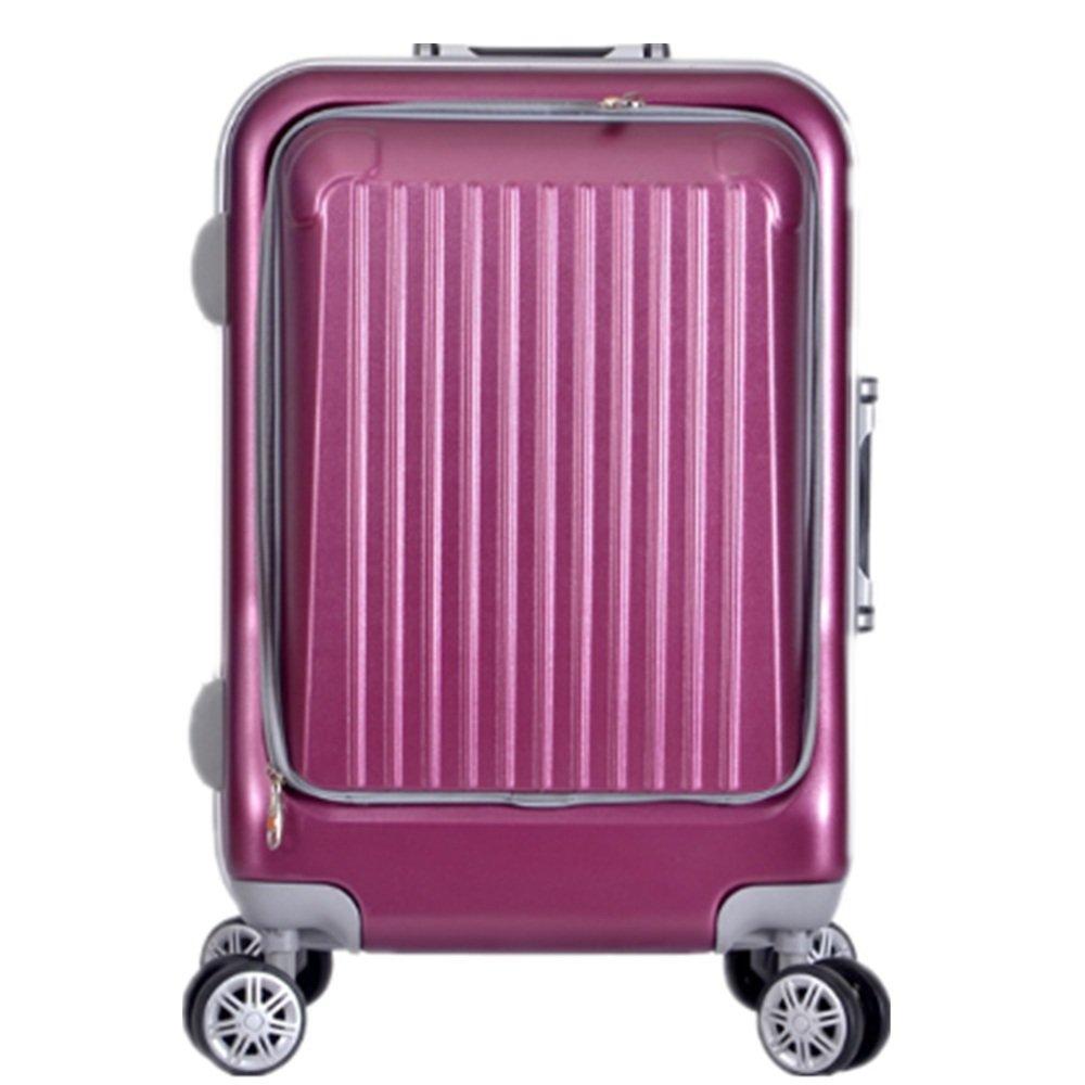 スーツケース 無地のPCのアルミニウムフレームの耐圧縮性および反落下の普遍的な車輪のビジネス旅行スーツケース20inch 大容量旅行スーツケース (色 : 紫の) B07RSGMDC2 紫の