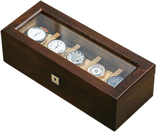 5 ranuras Caja de reloj de madera Cristal transparente Tapa de cristal Relojes de madera Exhibidor de joyas Organizador de almacenamiento con cojines blandos extraíbles for cajas de colección actual: Amazon.es: Hogar