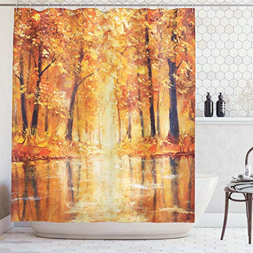 Ambesonne Country Decor Shower Curtain, Painting of a Forest by The Small Lake in Autumn Pale Fall Trees and Leaves Mod Art, Fabric Bathroom Set with Hooks, 69W X 70L Inches Long, Orange Brown -