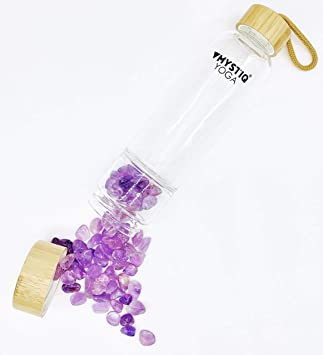 MYSTIQ YOGA | Botella de Cristal para Agua Elixir | 550ml | No BPA | Madera Bambú | Botella Deportiva para Infusiones con Pedrería | Cristales de Cuarzo & Estuche Neopreno Termo (
