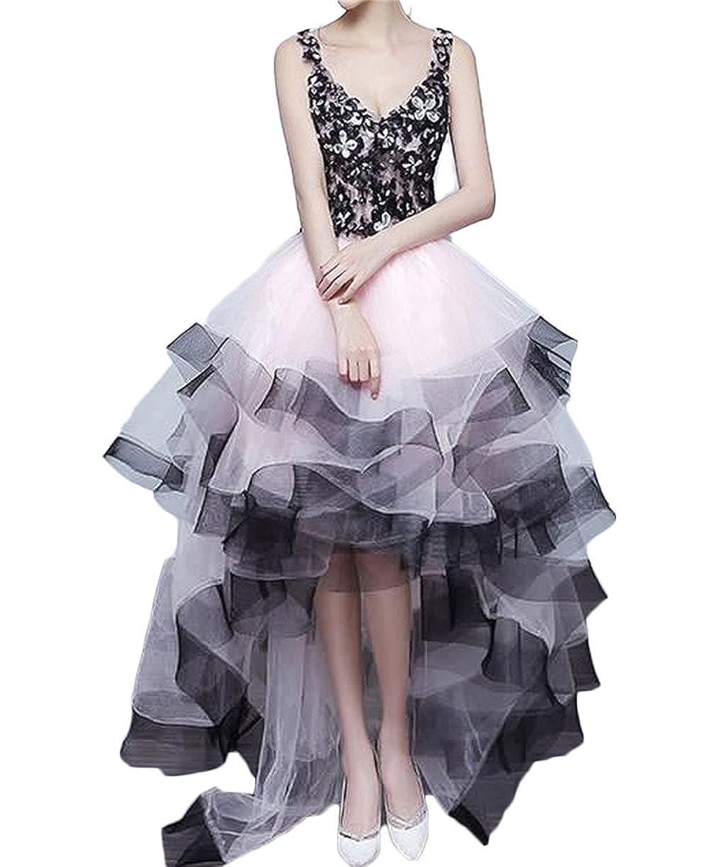 BaiYiYan Womens V Neck Lace Short Prom Dress Party Homecoming Dresses Hi-Lo B14 - Pink - 8: Amazon.co.uk: Clothing