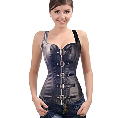 f8594b6326c Fashion Corset Top Overbust Steampunk Bustier Lace Up Women s Buckle    Zipper Faux leather Waist Cincher