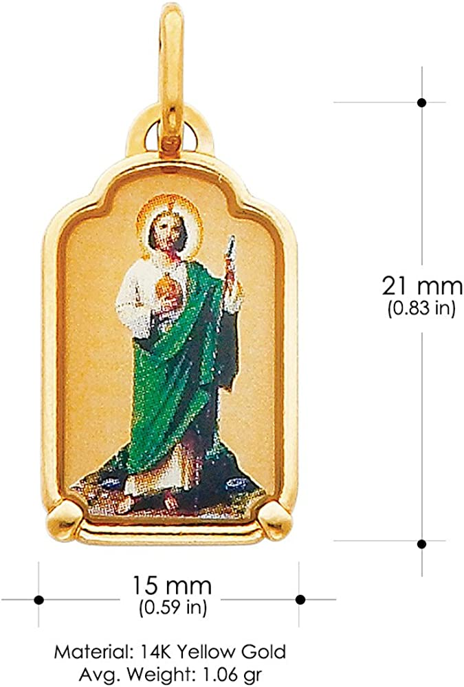 14K Yellow Gold St Jude Enamel Picture Charm Pendant with 1.2mm Flat Open Wheat Chain Necklace