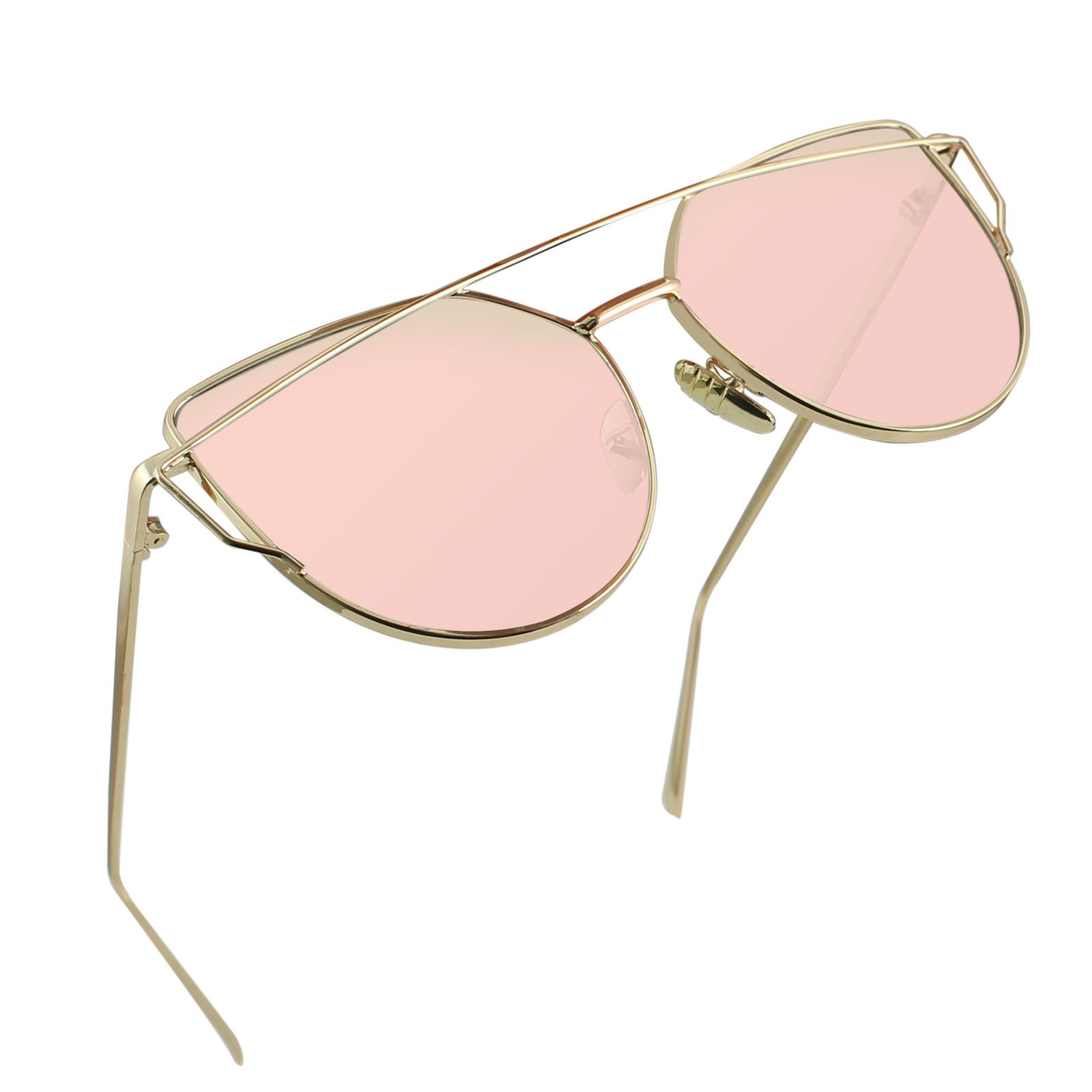 LIVHO G |Cat Eye Mirrored Flat Lenses Street Fashion Metal Frame Women Sunglasses