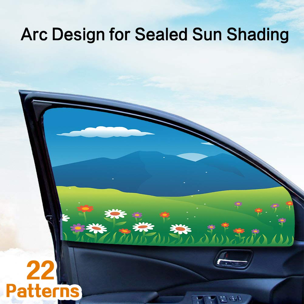 LIFONDER Magnetic Universal Fit Car Rear Side Window Baby Sun Shade (2 Pack) | Protects Your Baby and Older Kids from the Sun, Fits All (99%) Cars! Most SUVs!