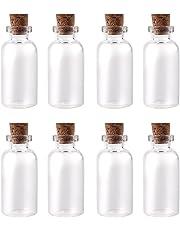 Yalulu Lot de 20 20ml Petites Bouteilles en verre transparent avec bouchon en liège jolie fiole flacon Mini bouteille décoratives pour parfums liquides sables colorés des gourmandises miniatures