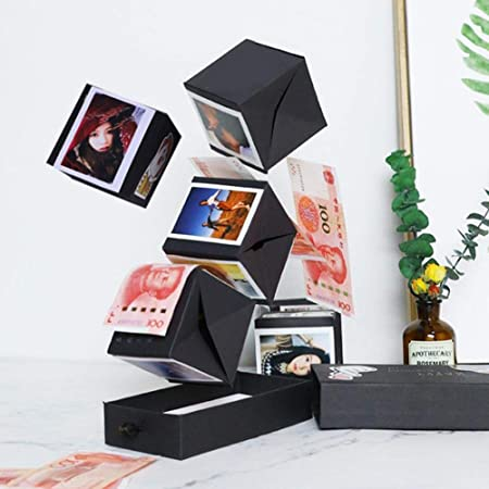 Caja de Rebote de explosión Negra, álbum de Fotos Hecho a Mano de álbum de Fotos DIY Multifuncional, Regalo de cumpleaños Sorpresa inventivo, Caja de Regalo de San Valentín y Aniversario: Amazon.es: