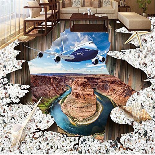 LHDLily 3D Wallpaper Mural Wall Sticker Thickening Flooring Custom Painting Floor Aircraft Shells Beach Photo Floor Waterproof Wall Paper For Bathroom 400cmX300cm by LHDLily
