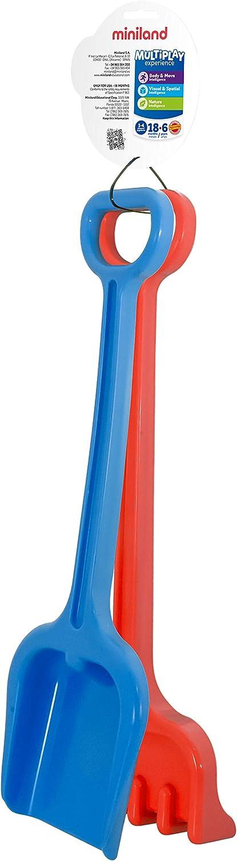 Miniland Super Set Pala y rastrillo Grandes para Arena y Nieve 29082 Colores b/ásicos