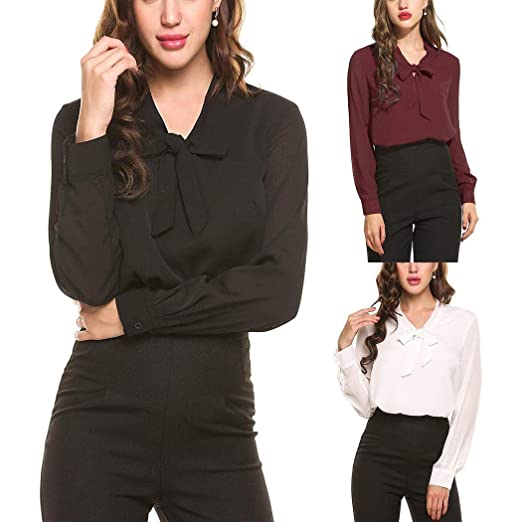 dd287f401ed Women Solid Chiffon Blouse Shirt Fancy Bow Tie Chiffon Office Shirt Elegant  Tops Black