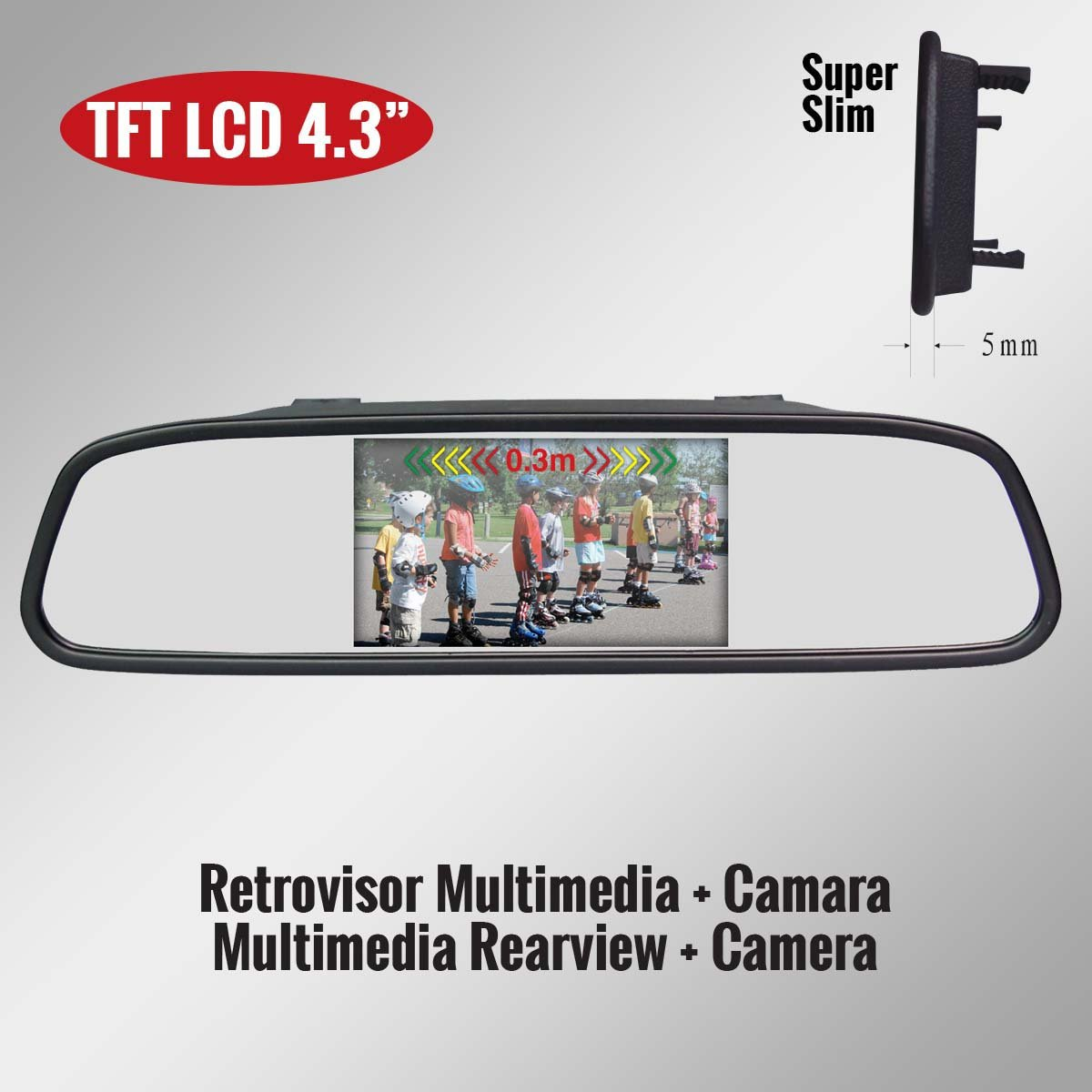 Genius G-VPS01-RC43SS TFT LCD Car Rearview Mirror Monitor 4.3'' Kit with Camera''Click Style''