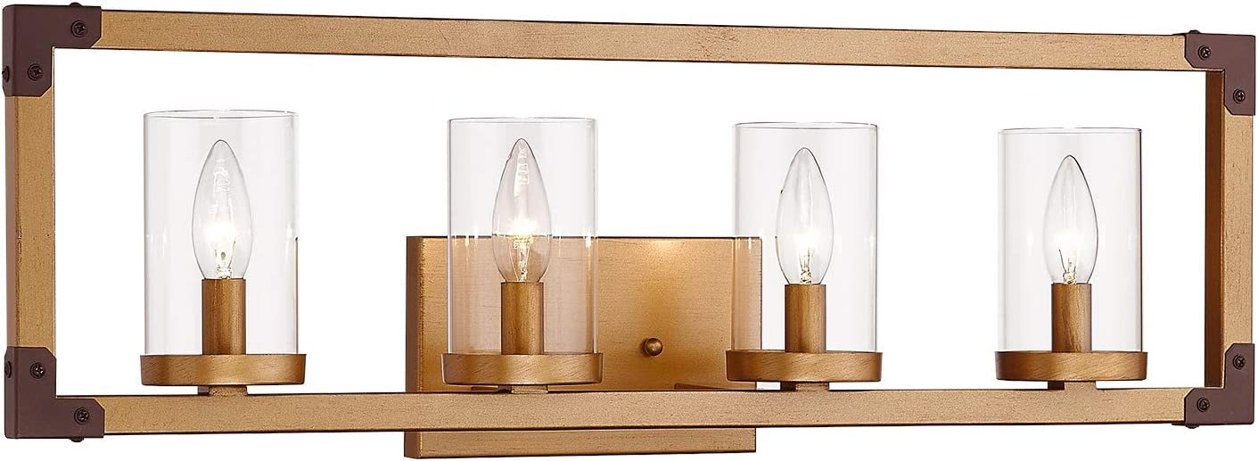 Zeyu 4 Light Bathroom Vanity Light Fixtures Bath Wall Fixture In Antique Gold Finish With Clear Glass 101 4w Ag Home Improvement