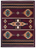 Rugs 4 Less Collection Southwest Native American Indian Area Rug Design R4L SW3 in Burgundy / Maroon (8'x10')