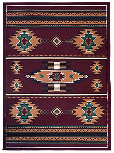 rugs 4 less collection southwest native american indian area rug design r4l sw3 in burgundy maroon