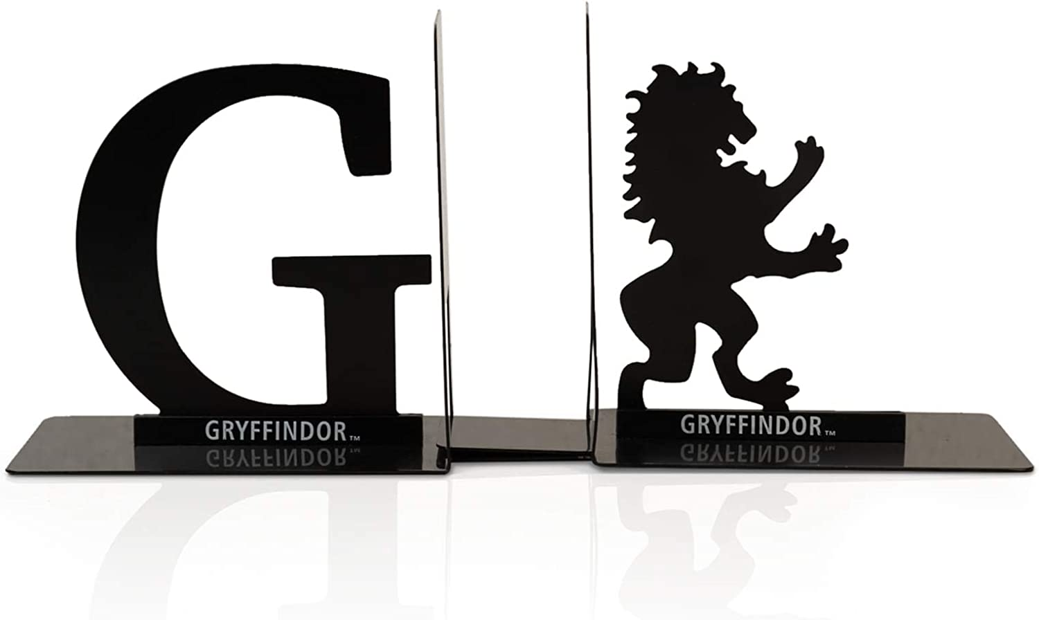 Harry Potter Metal Bookends - Black Hogwarts House Gryffindor Diecast Design - Decorative Book Holder - Home, Office, Kitchen, Room Decor - Books Collection Display For Shelves - Desk Accessories Set