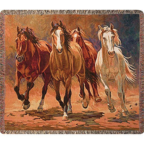 Manual Western Décor Collection 50 x 60-Inch Tapestry Throw, Hoofbeats and Heartbeats by Nancy Davidson