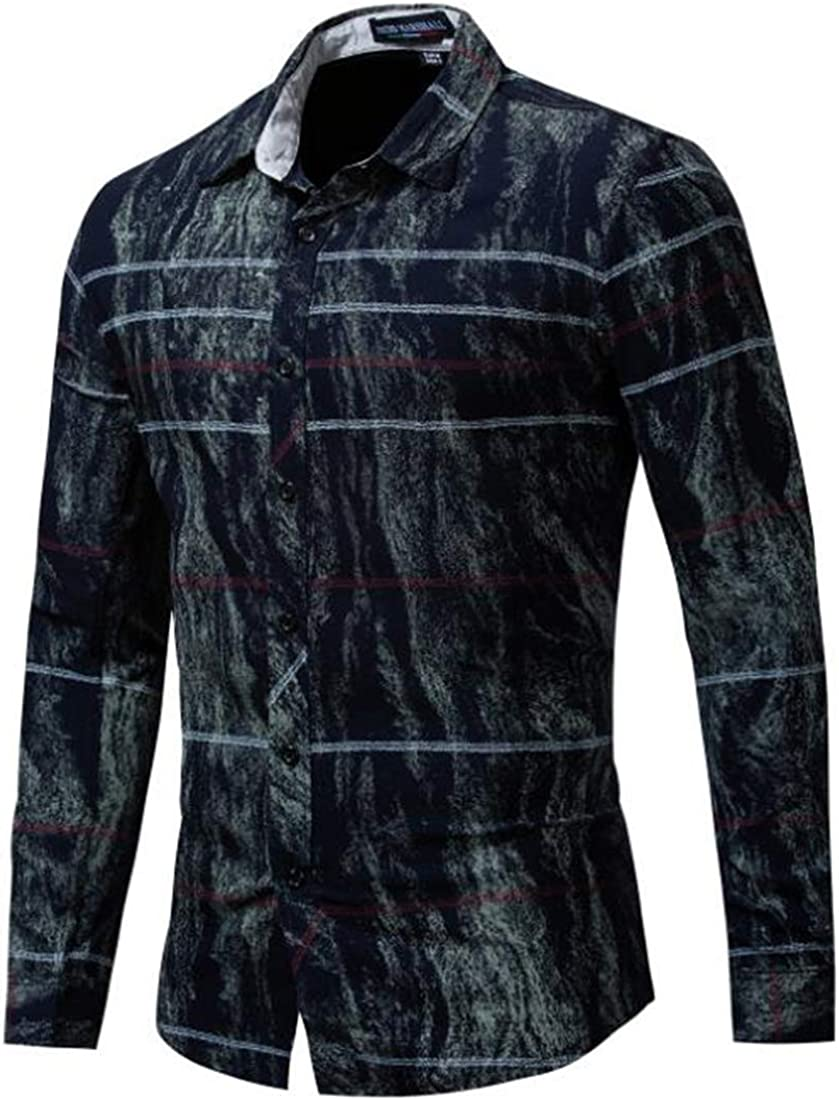 X-Future Mens Casual Stretchy 100/% Cotton Button Down Striped Long-Sleeve Colorblock Shirt