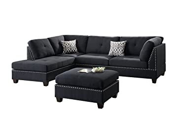 Poundex Bobkona Viola Linen-like Polyfabric Left or Right Hand Chaise SECTIONAL Set with Ottoman  sc 1 st  Amazon.com : chaise black - Sectionals, Sofas & Couches