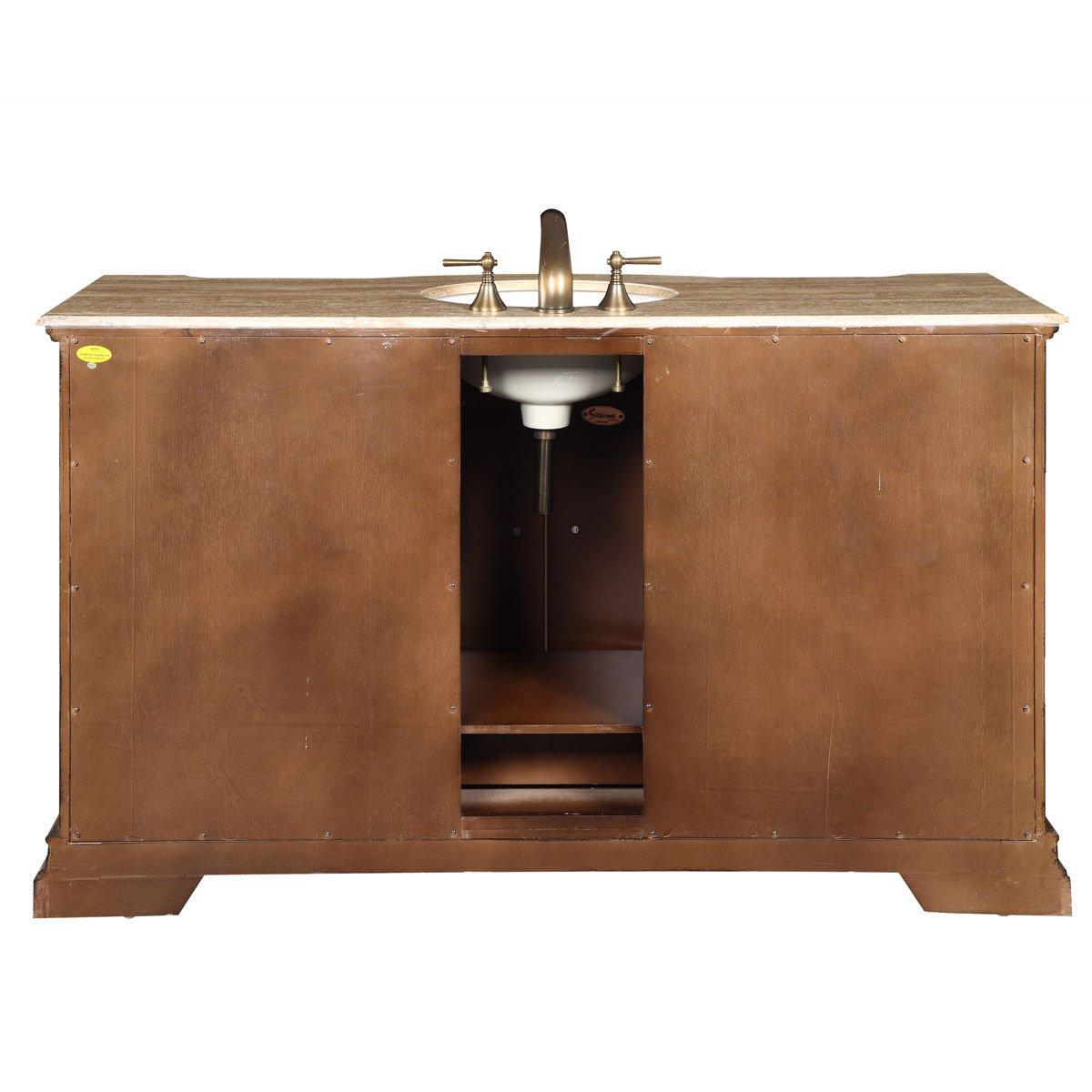 Inch travertine top single sink bathroom vanity lavatory bath cabinet - Amazon Com Silkroad Exclusive Travertine Top Single Sink Bathroom Vanity With Furniture Cabinet 60 Inch Home Kitchen