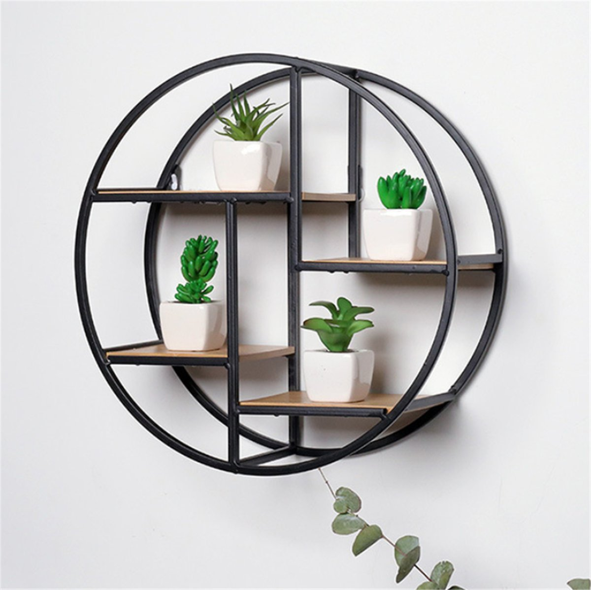 GOTOTOP Wall Mounted Metal Floating Shelf Black Round Display Unit With Shelves Art