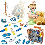 Skoolzy Toy Doctor Kit for Kids Hospital Pretend Play Set Toddler Toys for 3 4 5 Year Old Boys and Girls | Montessori Dramatic Play Dr Dress Up Games Sounds & lights Medical Equipment Stethoscope