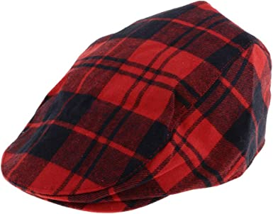 Baby Toddler Kid Newsboy Hat Flat Plaid Cotton Driver Hat Cap 3-8 Years