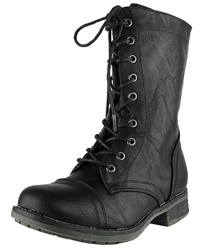 0788d1522e705 Cambridge Select Women s Combat Military Lace Up Inside Zipper Boot (6.5  B(M)