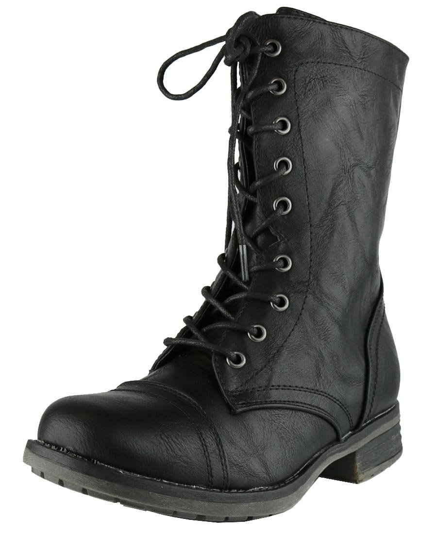 Cambridge Select Women's Combat Military Lace Up Inside Zipper Boot (7 B(M) US, Black)