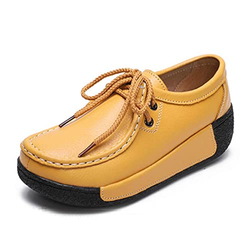 Zapatos De Mujer con Mocasines De Plataforma Plana Slip-On Split Leather Shallow Solid Lace Up Casual Plush Wedges Sneakers: Amazon.es: Zapatos y ...