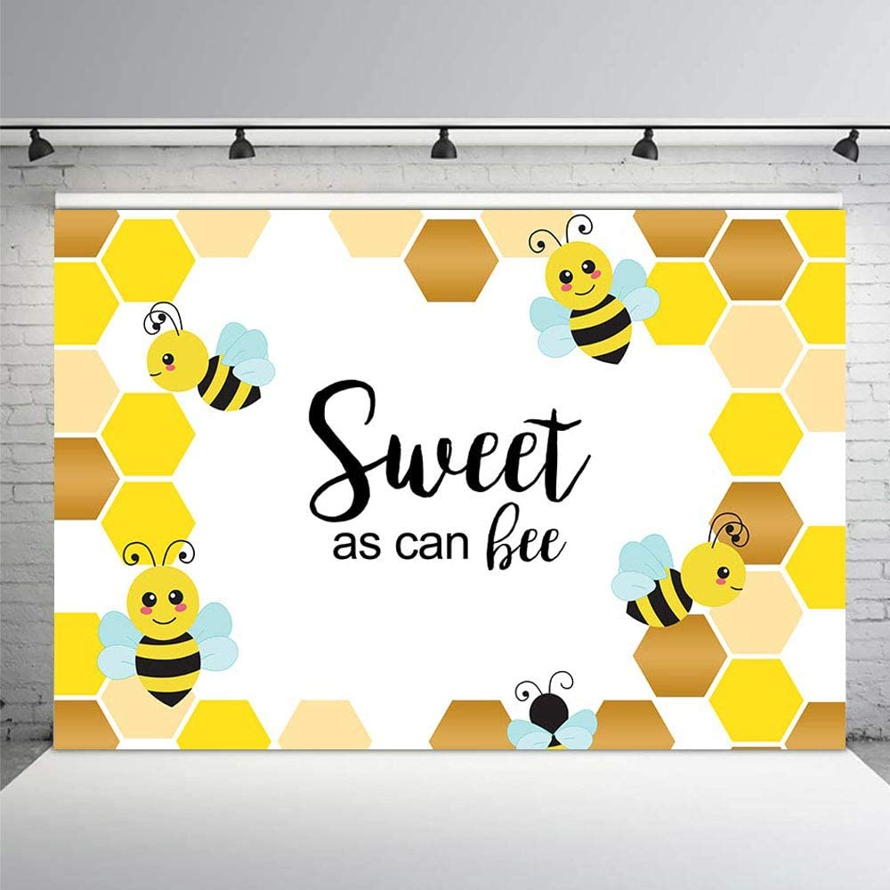MEHOFOTO 7x5ft Sweet As Can Bee Baby Shower Party Backdrop Yellow Bee-Day Honeycomb Birthday Photography Background Photo Banner for Dessert Table Supplies