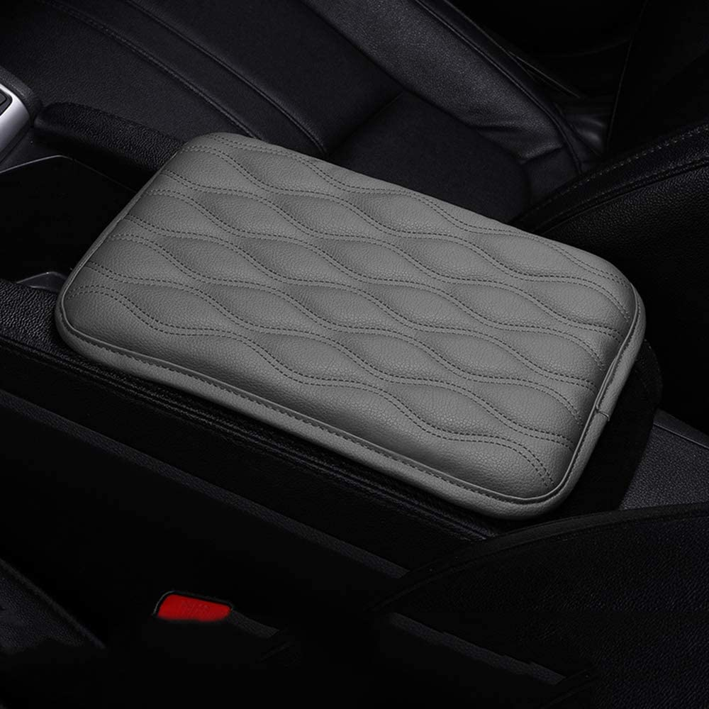 PU Leather Universal Car Center Console Box Arm Rest Pads Cushion Protector Dotesy Auto Center Console Cover Armrest Pads Black-Style 1