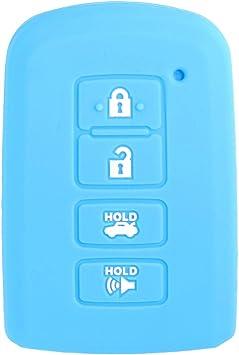 WERFDSR Sillicone key fob Skin key Cover Keyless Entry smart Remote Case Protector Shell for 2012 2013 2014 2015 2016 TOYOTA Avalon Camry Corolla Highlander RAV4 Lightc Blue