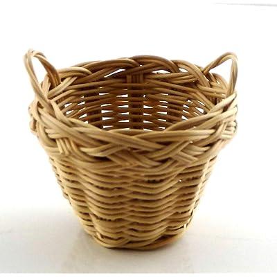 Melody Jane Dollhouse 2 Handled Wicker Washing Storage Basket Miniature 1:12 Accessory: Toys & Games