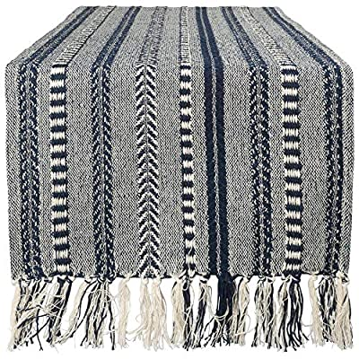 "DII Braided Cotton Table Runner Perfect for Summer, Holiday Parties and Everyday Use, 15x72"", Navy Blue - 15x72"" TABLE RUNNER - Fits table that seat 4-6 people EASY TO CLEAN - 100% Cotton. Machine washable. To minimize the shrinkage, tumble dry low, remove just prior to being completely dry. TIMELESS DESIGN - Like a favorite knit sweater, the runner has lots of texture and full of detail. Fringed edges have a casual look that works with any style of dishes. - table-runners, kitchen-dining-room-table-linens, kitchen-dining-room - 61TpINFB3EL. SS400  -"