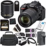 Nikon D5600 DSLR Camera with 18-140mm Lens (Black) 1577 + Lithium Ion Battery + Charger + Sony 64GB SDXC Card + Mini HDMI Cable + Carrying Case + Remote + Memory Card Wallet + Card Reader Bundle