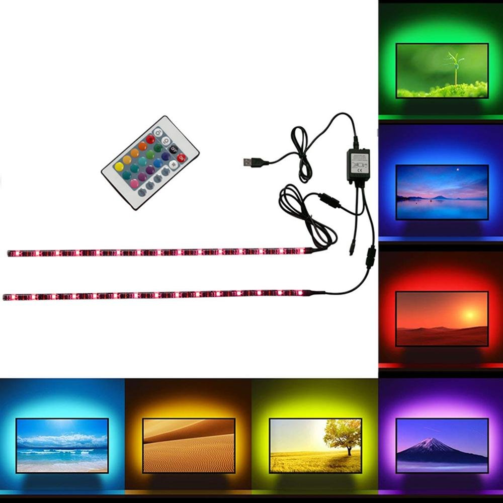 FOONEE LED TV Backlight Bias Lighting Kits for HDTV, LAYOPO 1.64ft/5M LED Light Strip 16 Colors and 4 Dynamic Mode USB Powered Ambient Light String with Remote Controller for Flat Screen TV PC